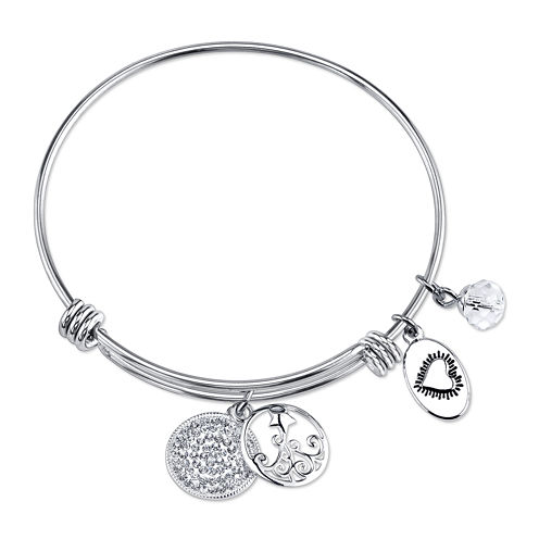 Footnotes Too® Stainless Steel Shooting Star Expandable Bangle Bracelet