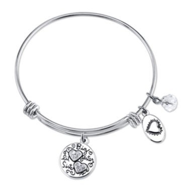 jcpenney.com | Footnotes Too® Stainless Steel Sisters Forever Expandable Bangle Bracelet