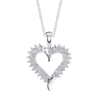 jcpenney.com | Sparkle Allure™ Cubic Zirconia Silver-Plated Heart Pendant Necklace