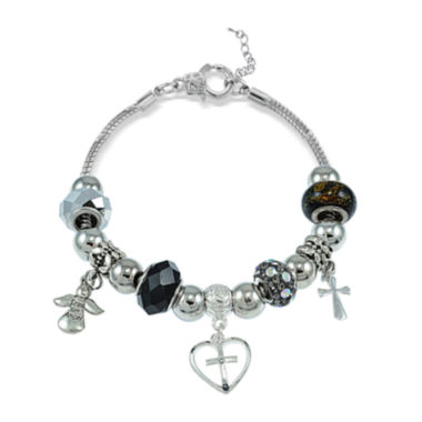 jcpenney.com | Dazzling Designs™ Artisan Glass Bead Cross and Angel Bracelet