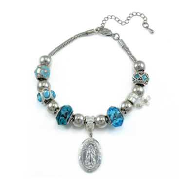 jcpenney.com | Dazzling Designs™ Blue Artisan Glass Bead Lady of Guadalupe Bracelet