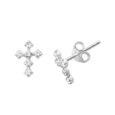 jcpenney.com | itsy bitsy™ Crystal Sterling Silver Cross Earrings