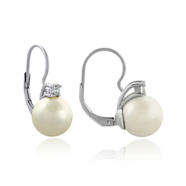 jcpenney.com | Silver-Plated Simulated Pearl and Cubic Zirconia Earrings