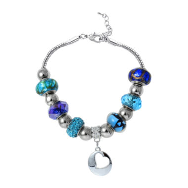 jcpenney.com | Dazzling Designs™ Blue Artisan Glass Bead Silver-Plated Heart Bracelet