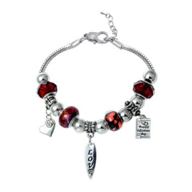 jcpenney.com | Dazzling Designs™ Red Artisan Glass Bead Silver-Plated Heart Bracelet