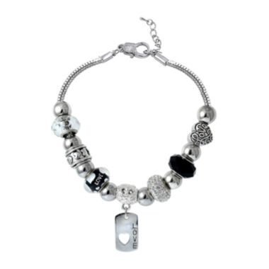 jcpenney.com | Dazzling Designs™ Artisan Glass Bead Silver-Plated Love Bracelet