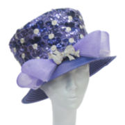 Whittall & Shon™ Sequin Flower and Bow Brooch Hat