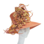 Whittall & Shon™ Rust Fabric Flower and Feather Hat