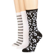 Mixit™ Womens 3-pk. Flat Knit Crew Socks
