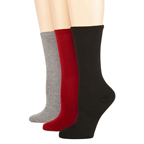 Mixit™ Womens 3-pk. Textured and Flat Knit Crew Socks