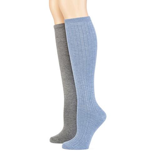 Mixit™ Womens 2-pk. Ribbed and Flat Knit Knee-High Socks