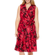 Jessica Howard Sleeveless Shantung Shirtdress - Plus