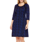 J. Taylor 3/4-Sleeve Fit-and-Flare Dress - Plus