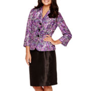 Le Suit® Long-Sleeve 3-Button Print Jacket and Skirt Set