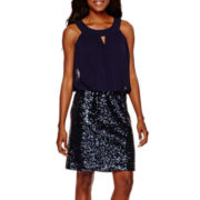 Scarlett Sleeveless Sequin-Skirt Blouson Dress
