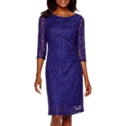 Scarlett 3/4-Sleeve Glitter Lace Sheath Dress