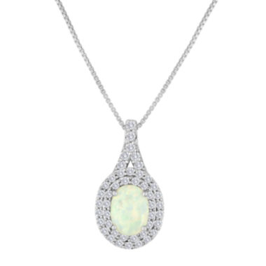 jcpenney.com | Lab-Created Opal and White Sapphire Sterling Silver Pendant Necklace