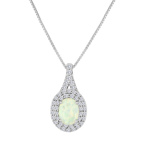 Lab-Created Opal and White Sapphire Sterling Silver Pendant Necklace