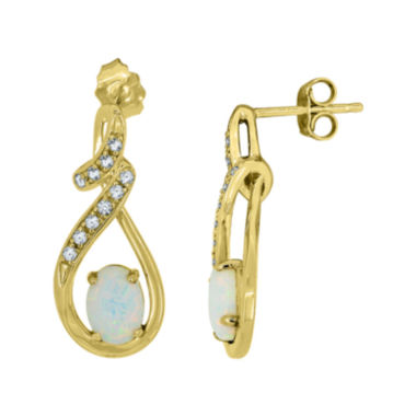 jcpenney.com | Lab-Created Opal and White Sapphire 14K Yellow Gold Over Sterling Silver Infinity Earrings