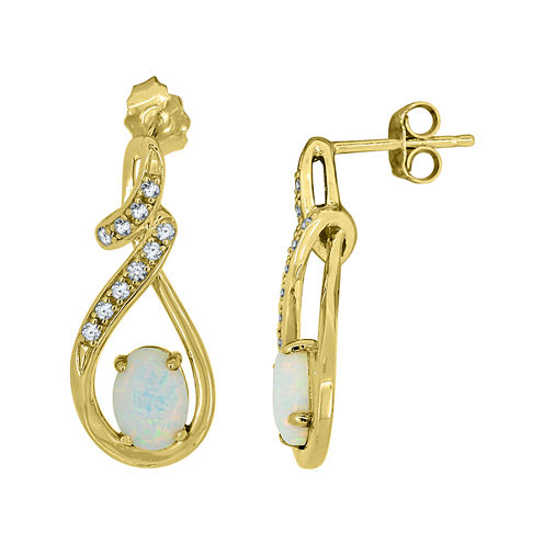 Lab-Created Opal and White Sapphire 14K Yellow Gold Over Sterling Silver Infinity Earrings