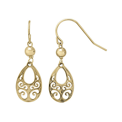 Infinite Gold™ 14K Yellow Gold Filigree Teardrop Drop Earrings