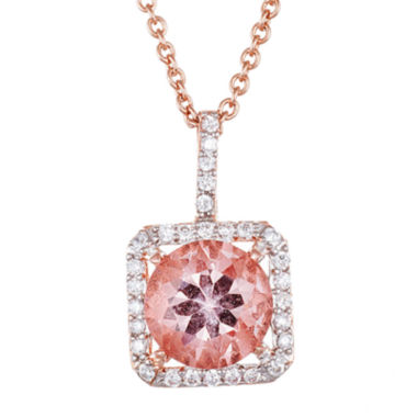 jcpenney.com | Simulated Morganite 18K Rose Gold Over Sterling Silver Pendant Necklace