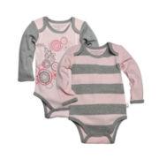 Burt's Bees Baby™ 2-pc. Rugby Stripe Bodysuit Set - Baby Girls 3m-12m