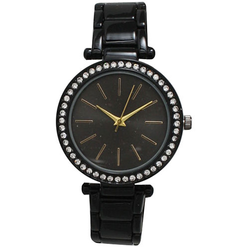 Olivia Pratt Womens Black Bracelet Watch-14202black Gold