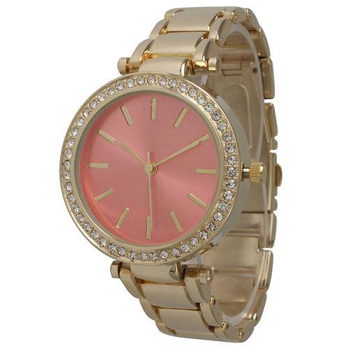 Olivia Pratt Womens Gold Tone Bracelet Watch-14202coral