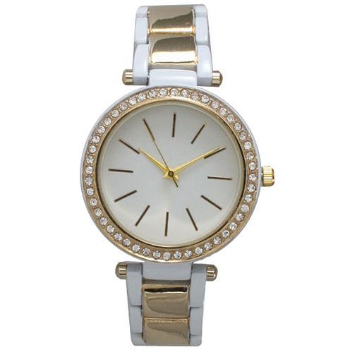 Olivia Pratt Womens White Bracelet Watch-14202white Gold