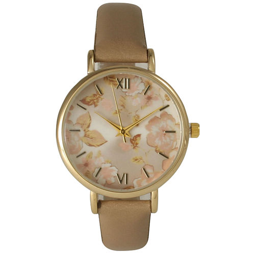 Olivia Pratt Womens Brown Strap Watch-15828beige