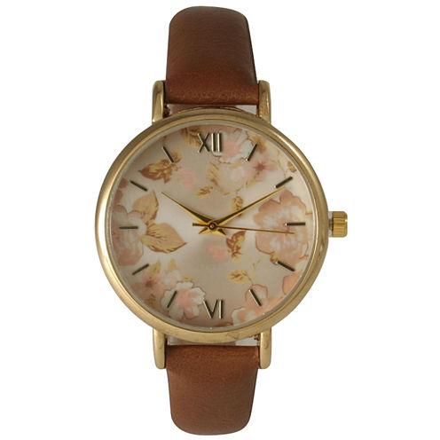 Olivia Pratt Womens Brown Strap Watch-15828brown