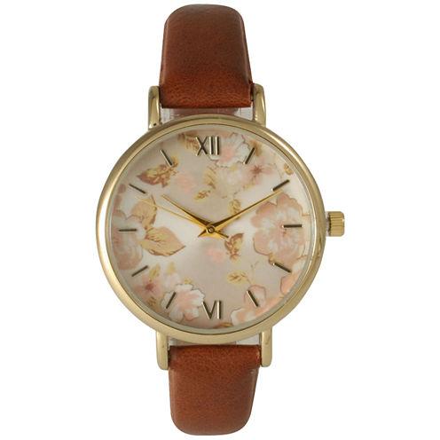 Olivia Pratt Womens Brown Strap Watch-15828cognac