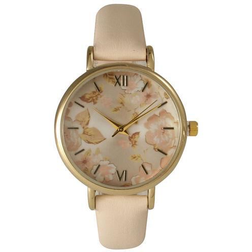 Olivia Pratt Womens Floral Dial Blush Strap Watch-15828