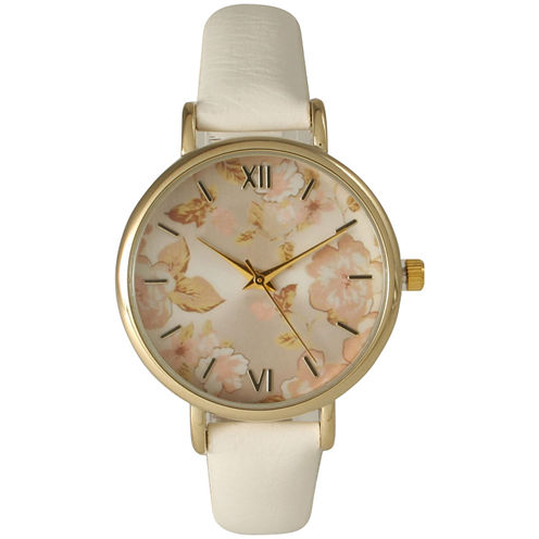 Olivia Pratt Womens White Strap Watch-15828white