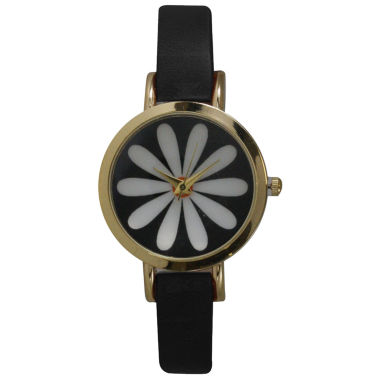 jcpenney.com | Olivia Pratt Womens Black Strap Watch-20378blackflower