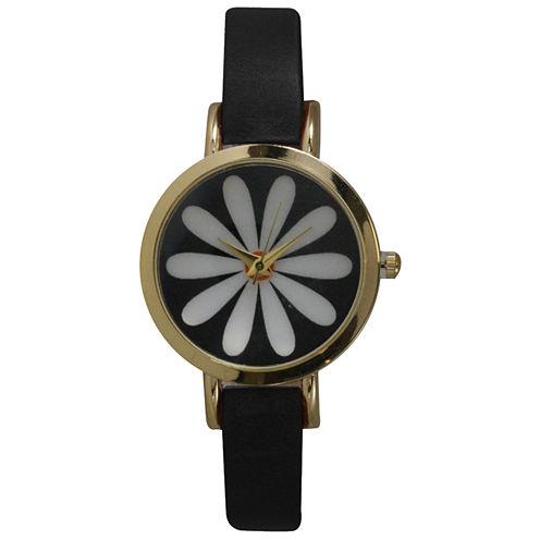 Olivia Pratt Womens Black Strap Watch-20378blackflower