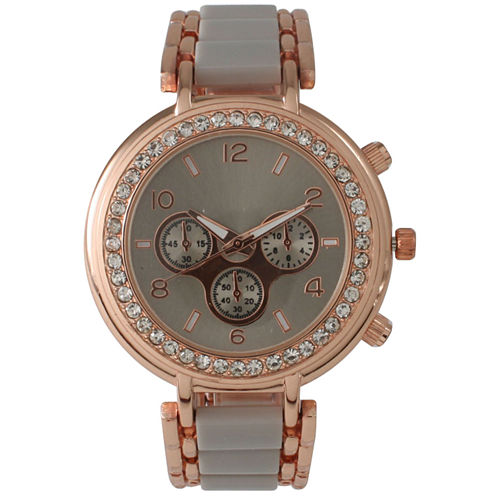Olivia Pratt Womens Gray Bracelet Watch-26245greyrose