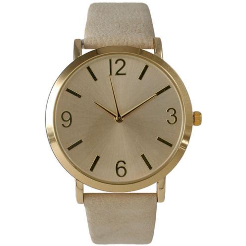 Olivia Pratt Womens Brown Strap Watch-26268bcream