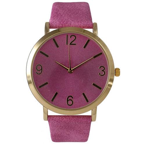 Olivia Pratt Womens Pink Strap Watch-26268bdarkpink