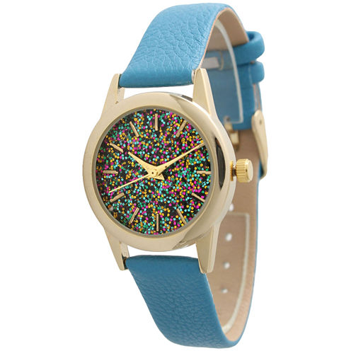 Olivia Pratt Womens Blue Strap Watch-40002turquoise