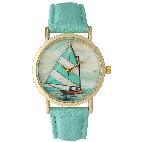 Olivia Pratt Womens Green Strap Watch-15009mint