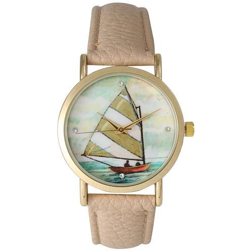 Olivia Pratt Womens Brown Strap Watch-15009taupe