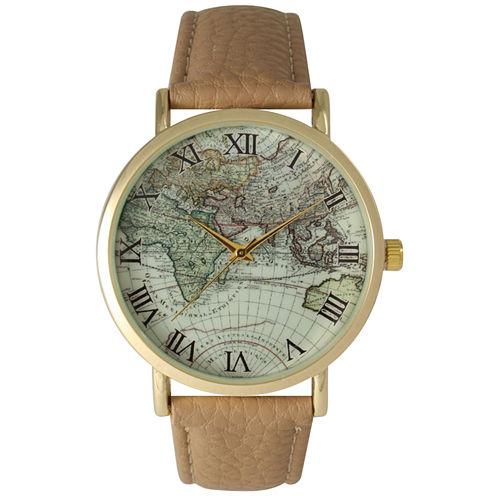 Olivia Pratt Womens Brown Strap Watch-15043beige