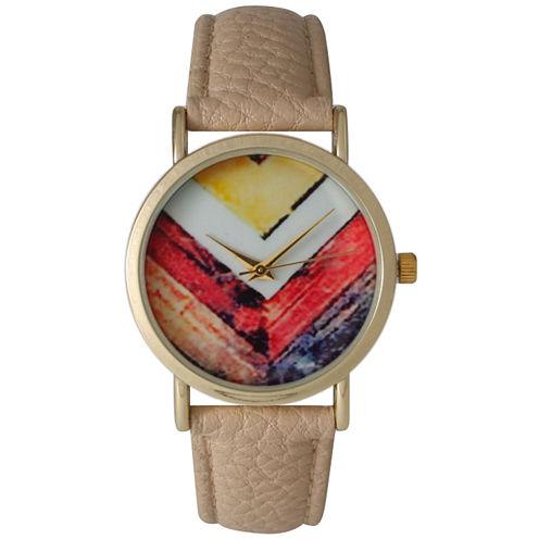 Olivia Pratt Womens Brown Strap Watch-15135beige