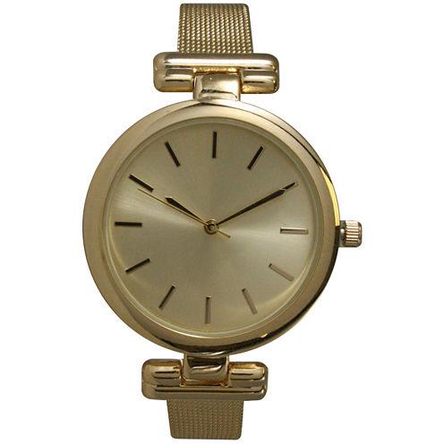 Olivia Pratt Womens Gold Tone Strap Watch-15143gold