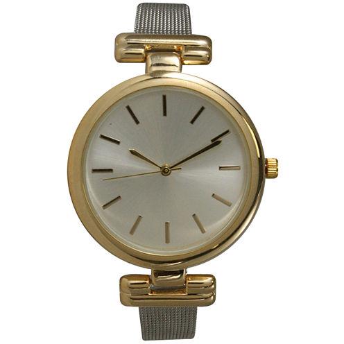 Olivia Pratt Womens Two Tone Strap Watch-15143twotone