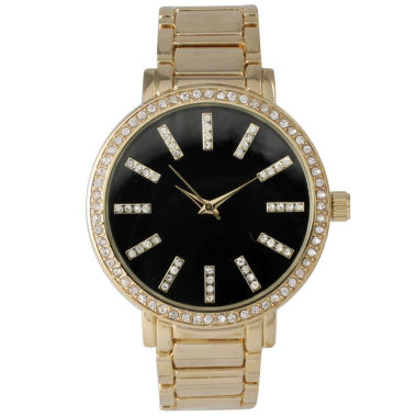 jcpenney.com | Olivia Pratt Womens Gold Tone Strap Watch-15267goldblack