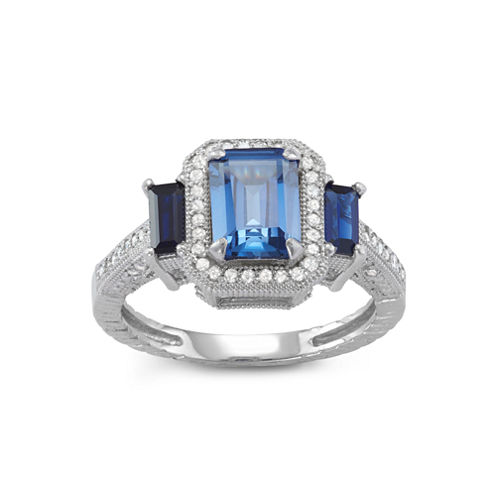Lab Created Sapphire And 1/4C.T. T.W.Diamond 10K White Gold Ring