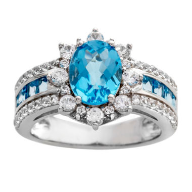 jcpenney.com | Genuine Blue Topaz & Lab Created White Sapphire Sterling Silver Ring
